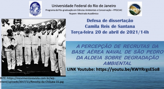 126ª Defesa de Mestrado do PPG-CiAC: Camila Reis de Santana